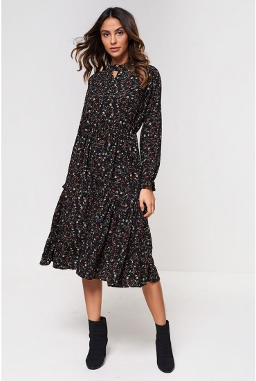 Clara High Neck Midi Dress in Black Floral Print