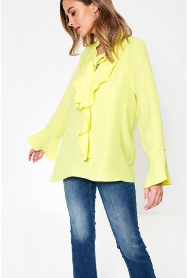 Dhila Frill Top in Neon Yellow