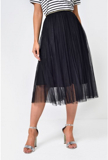 Pippa Pleated Tulle Skirt in Black