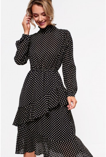 Theo High Neck Midi Dress in Black Polka Dot