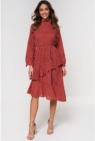 Theo High Neck Midi Dress in Red Polka Dot