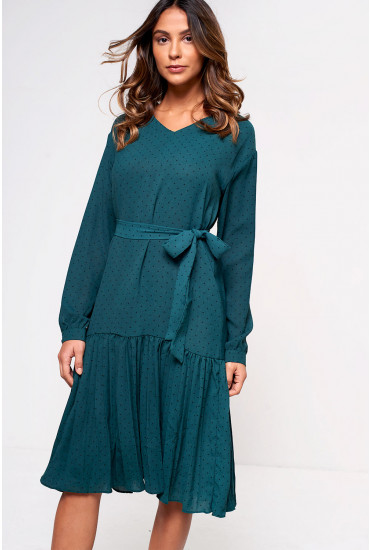 Milo Midi Dress with Pleated Hem in Green