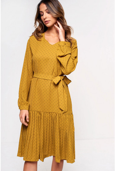 Milo Midi Dress with Pleated Hem in Spicy Mustard