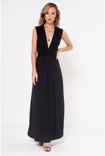 Poppy Knot Waist Maxi Dress in Black
