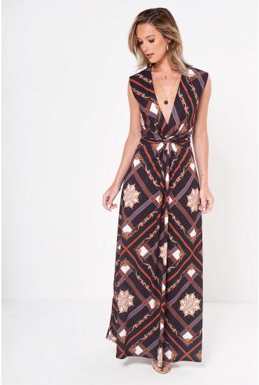 Poppy Knot Waist Maxi Dress in Black Scarf Print