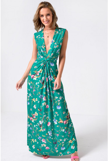 Poppy Floral Print Maxi Dress in Green