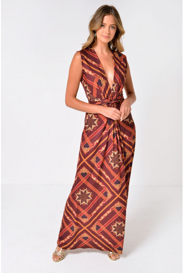 Poppy Scarf Print Maxi Dress in Reddish Brown