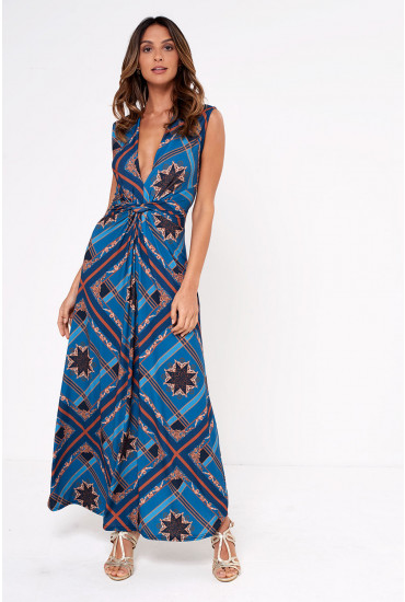 Poppy Scarf Print Maxi Dress in Teal