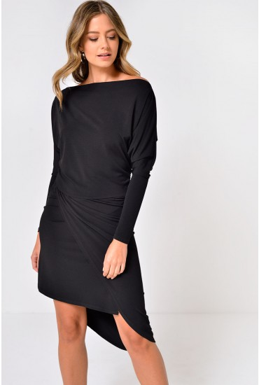 Zoya Batwing Sleeve Ruched Midi Dress in Black