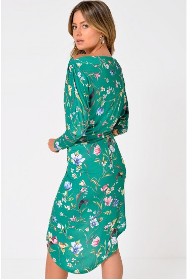 Zoya Batwing Sleeve Ruched Midi Dress in Green Floral