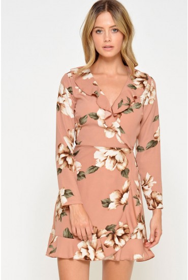 Kate Tropical Floral Wrap Dress in Natural
