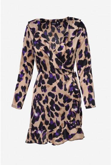 Kate Frill Wrap Dress in Purple Leopard Print