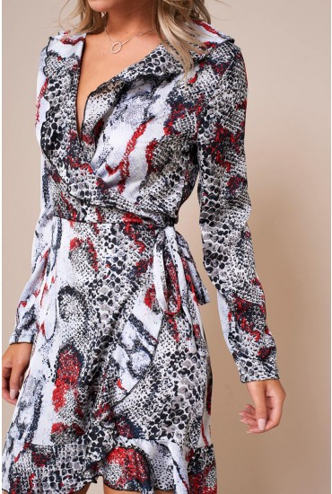 Kate Frill Wrap Dress in Snakeskin Print