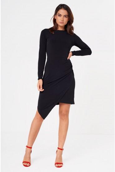 Ria Crew Neck Ruched Midi Dress in Black