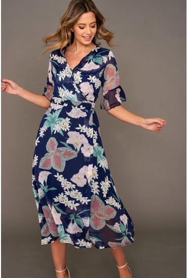Finley Midi Wrap Dress in Navy Floral Print