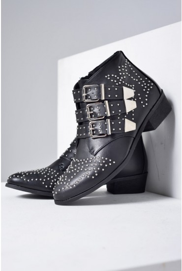 Kate Stud Buckled Ankle Boots in Black PU
