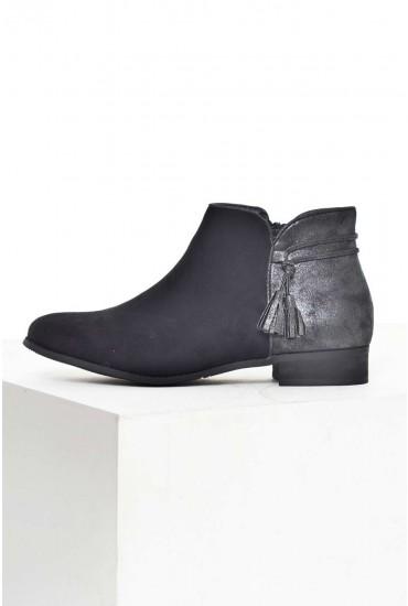 Sandra Tassel Ankle Boots in Black