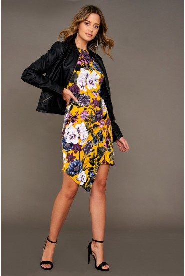 Kim All Over Printed Jersey Dress with Ruched Detail