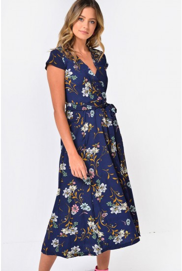 Kristy Printed Mock Wrap Dress in Navy