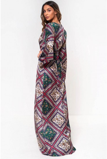 Lila Printed Satin Maxi Dress