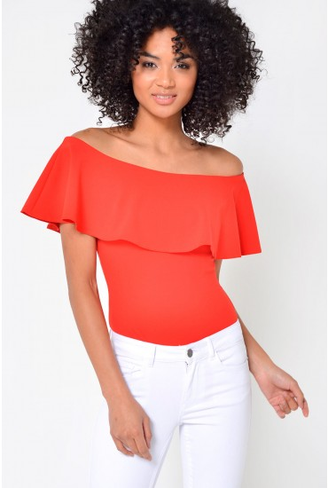 Lucy Off Shoulder Peplum Bodysuit in Coral