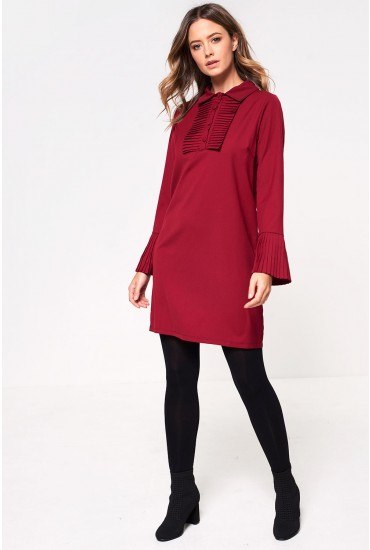 Natalie Shift Dress with Pleated Cuff in Burgundy
