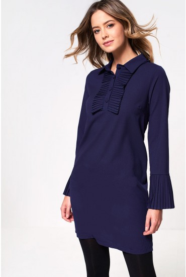 Natalie Shift Dress with Pleated Cuff in Navy