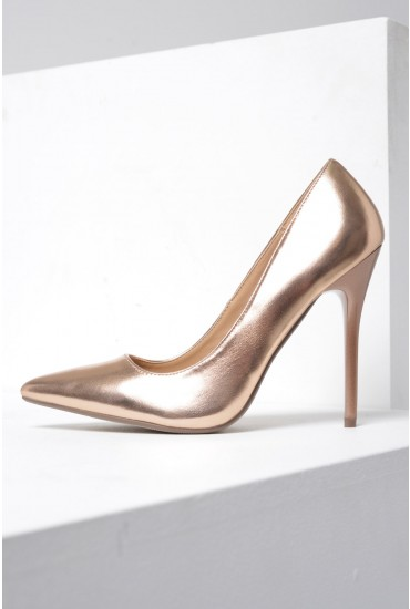 Mia Pointed Court Shoe in Rose Gold