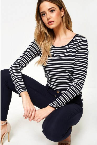 Noma Striped Long Sleeve Top in Navy