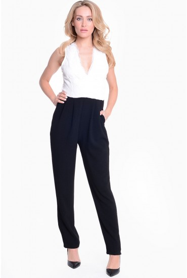 Gemma Lace Top Jumpsuit in Black and Cream