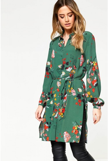 Mule Milja Long Sleeve Shirt Dress in Green Floral Print