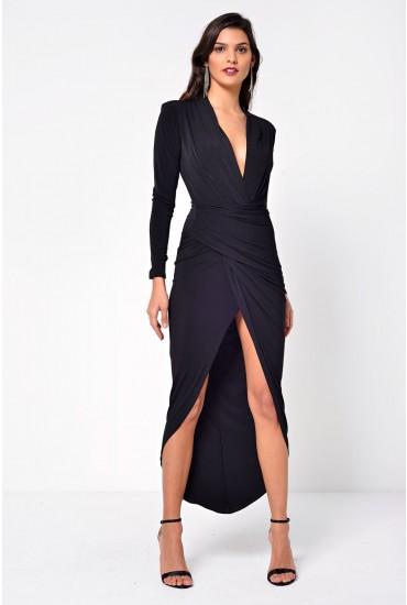 Kim Deep V Midi Dress in Black