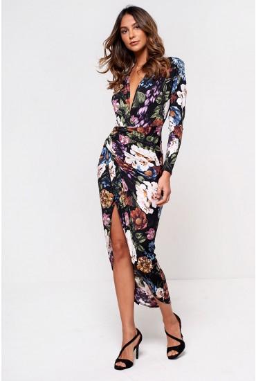 Kim Deep V Midi Dress in Black Floral