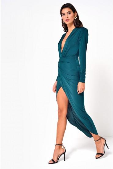 Kim Deep V Midi Dress in Emerald Green