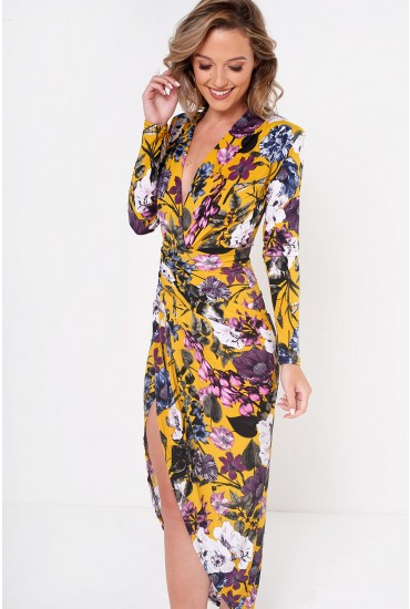 Kim Deep V Midi Dress in Yellow Floral