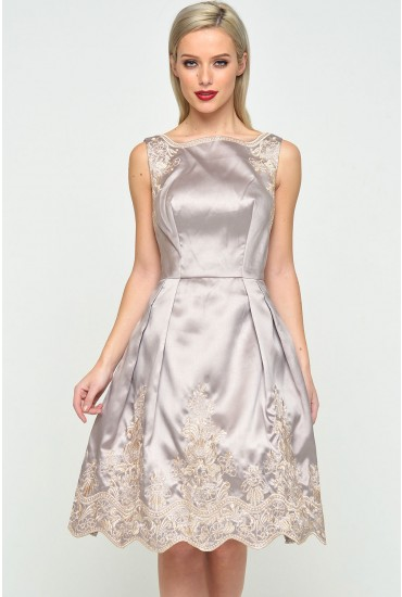 Sharnell Embroidered Satin Dress