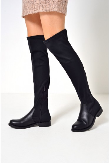 Lou Stretch Over The Knee Boot in Black