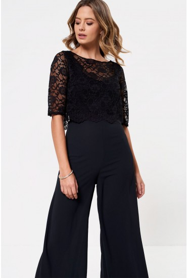 Freya Jumpsuit with Lace Overlay in Black