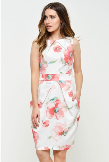 Sandy Printed Pocket Dress in Cream
