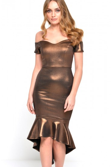Vickie Fishtail Dress in Bronze