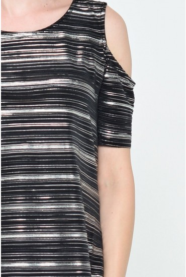 Stacey Crinkle Metallic Top in Black
