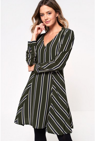 Lottie Stripe Mini Dress in Green