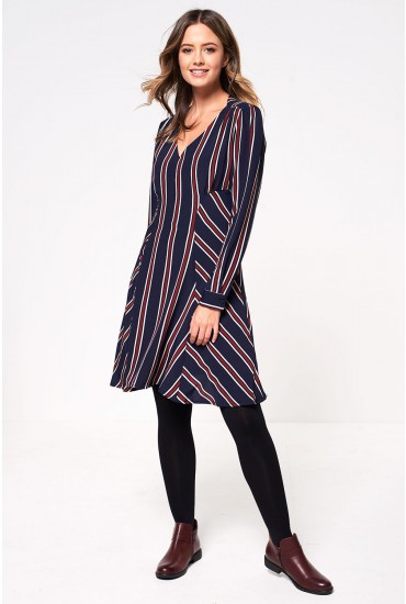Lottie Stripe Mini Dress in Navy