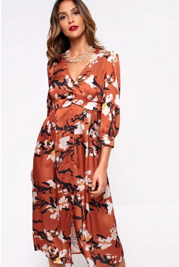 Sadie Printed Cross Over Dress in Rust