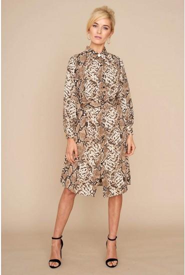Celine Snake Print Shirt Dress