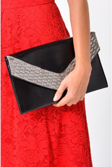 Kate Diamante Clutch in Black