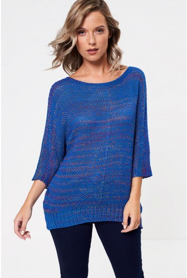 Emma Textured Knit Jumper in Blue