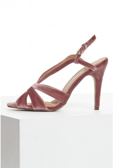 Helen Velvet Heeled Sandals in Rose