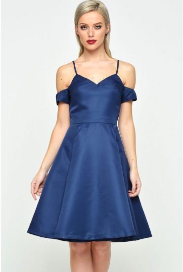 Gaby Cold Shoulder Dress in Navy