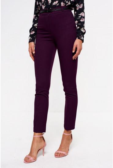Wren Woven Belted Trousers in Prune